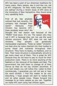 "IS THERE NO MORE CHICKEN AT ""KFC"" ?"